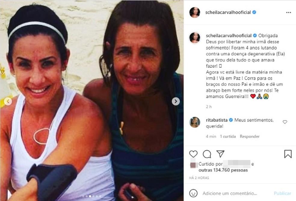 Irmã de Scheila Carvalho morre após doença degenerativa — Foto: Reprodução / Redes Sociais