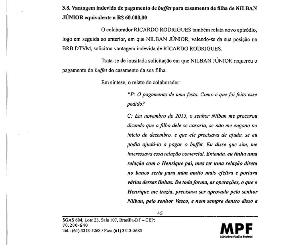 Trecho de depoimento que aponta pagamento de buffet de empresário a banqueiro do BRB — Foto: Reprodução/MPF