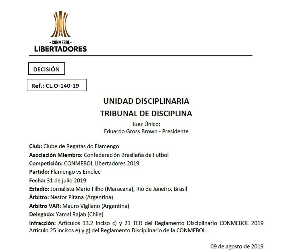 Decisão do comitê disciplinar da Conmebol — Foto: Reprodução