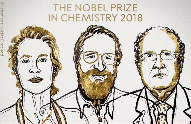 Frances H. Arnold, George P. Smith e Sir Gregory P. Winter, vencedores do Prêmio Nobel de Química (Foto: Divulgação)
