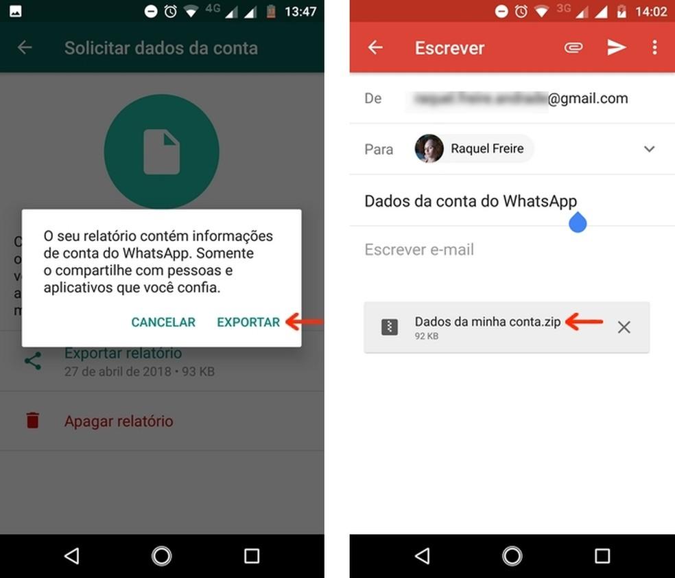 Arquivo ZIP com informações da conta do WhatsApp exportada no Gmail (Foto: Reprodução/Raquel Freire)