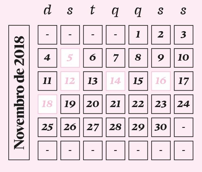 Calendário novembro de 2018 (Foto: Calendário novembro de 2018)