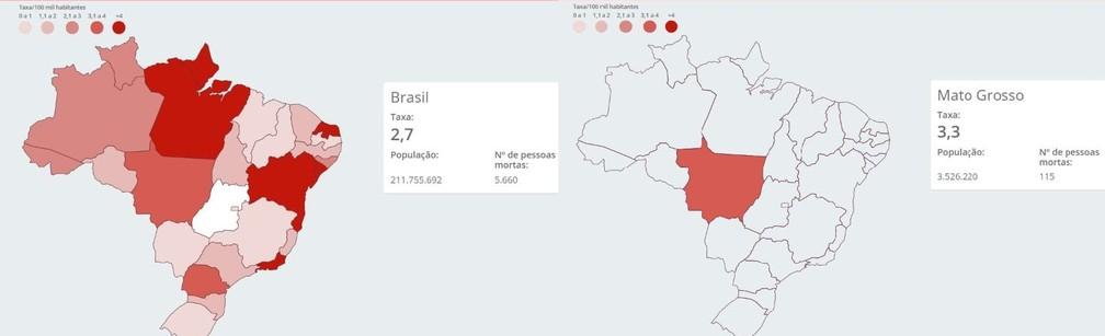 Comparação da taxa de pessoas mortas por policiais a cada 100 mil habitantes entre Brasil e MT — Foto: Monitor da violência