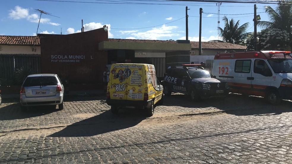 Aluna esfaqueou outra em na Escola Municipal Severiano Melo, de Natal — Foto: Heloísa Guimarães/Inter TV Cabugi