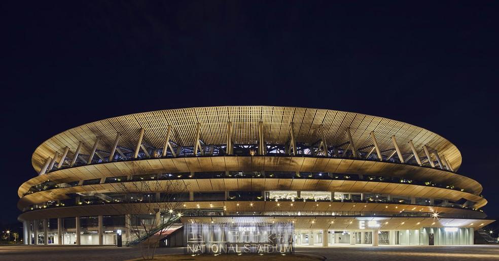 Estádio Nacional de Tóquio recebeu a cerimônia de um ano para as Olimpíadas — Foto: Tokyo 2020