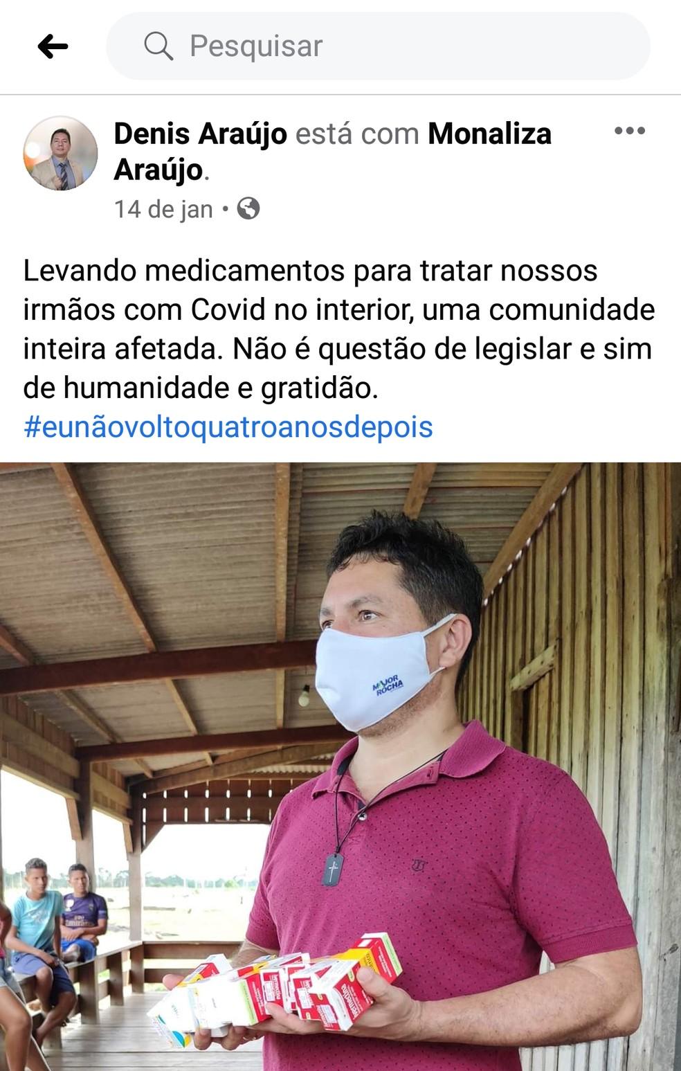 Vereador Denis Araújo anunciou em uma rede social que estava levando ivermectina para moradores da zona rural de Sena Madureira — Foto: Reprodução