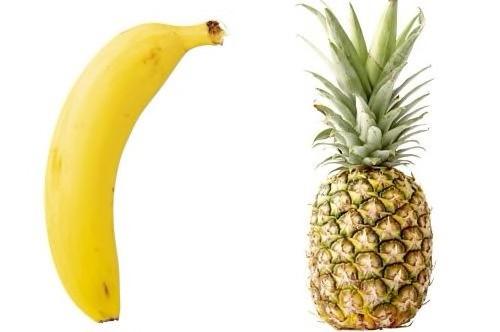 Bananas têm polpa macia, ajudam a combater o estresse e a diarreia. Abacaxis contêm acidez