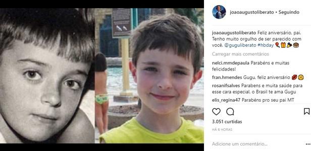 João Augusto, primogênito de Gugu Liberato, parabeniza o pai (Foto: Reprodução/Instagram)