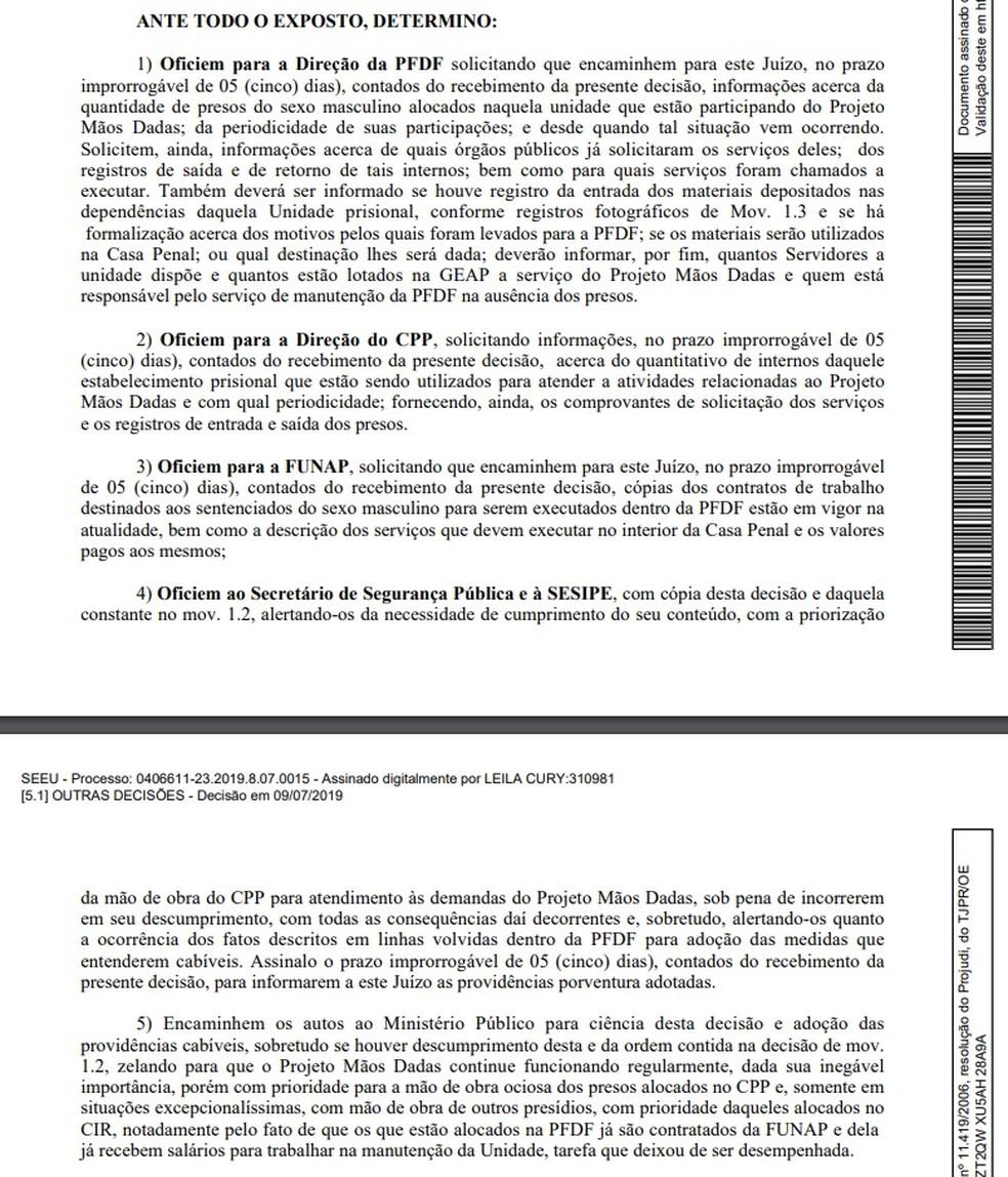 Decisão da Justiça após vistoriar Penitenciária Feminina do DF — Foto: TJDFT
