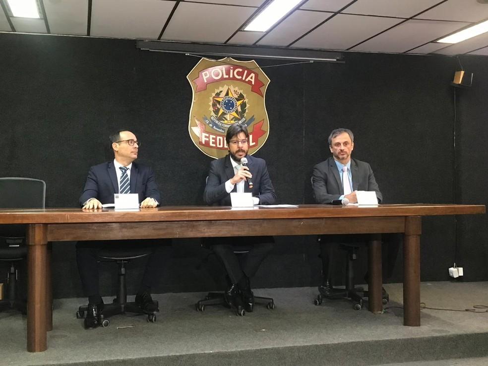Coletiva na sede da Polícia Federal da Bahia, em Salvador, detalhou informações sobre a Operação Caduceu. — Foto: Itana Alencar/G1 BA