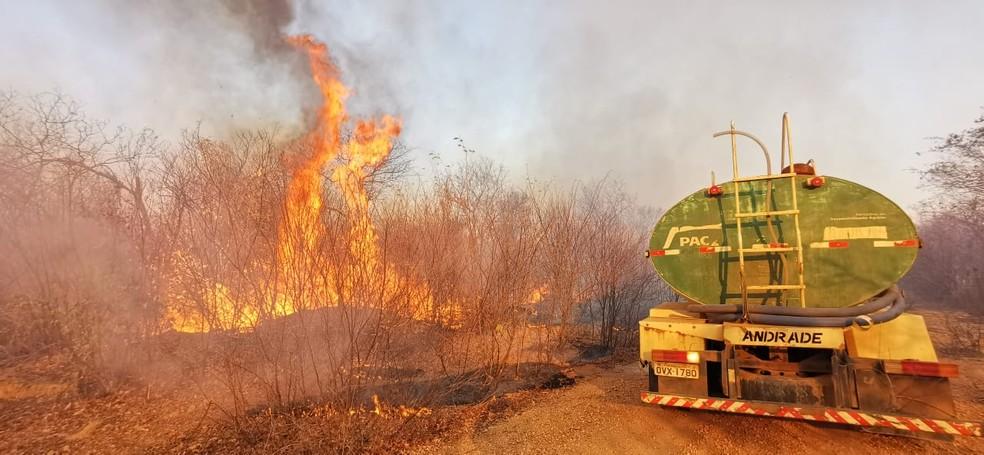 Incêndio atinge zona rural de São Raimundo Nonato e ameaça Parque Nacional da Serra da Capivara — Foto: André Pessoa