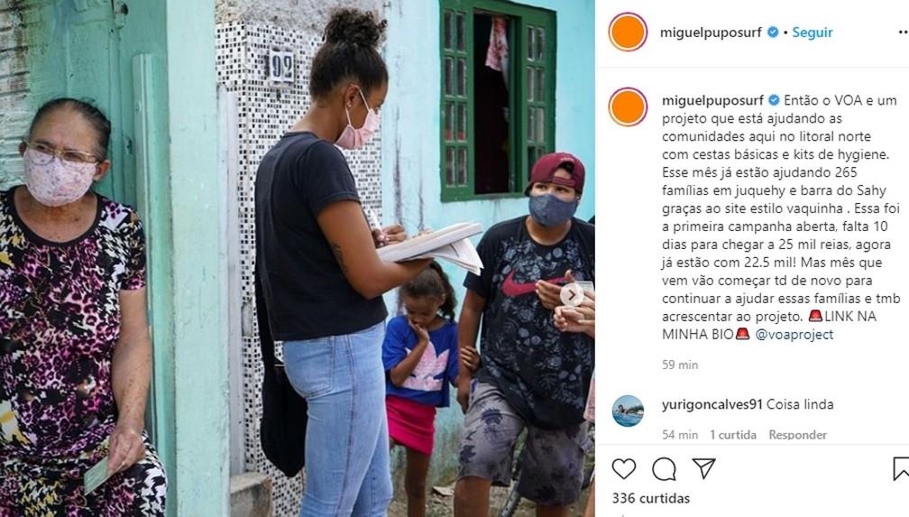 Post Miguel Pupo projeto VOA — Foto: Reprodução/Instagram