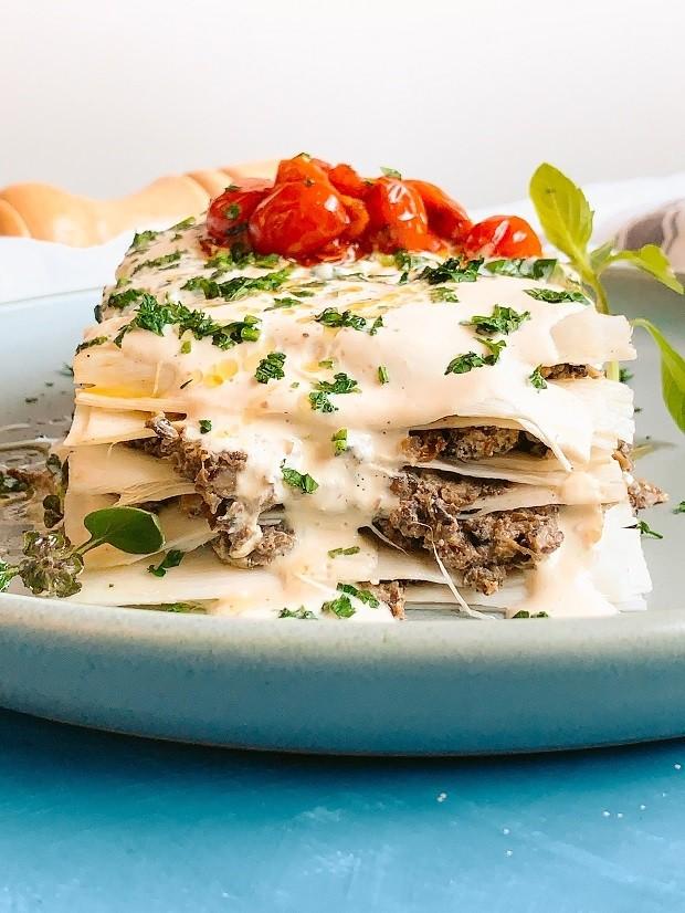 Receita de lasanha de palmito com cogumelos e molho branco (Foto: Thiago Medeiros)