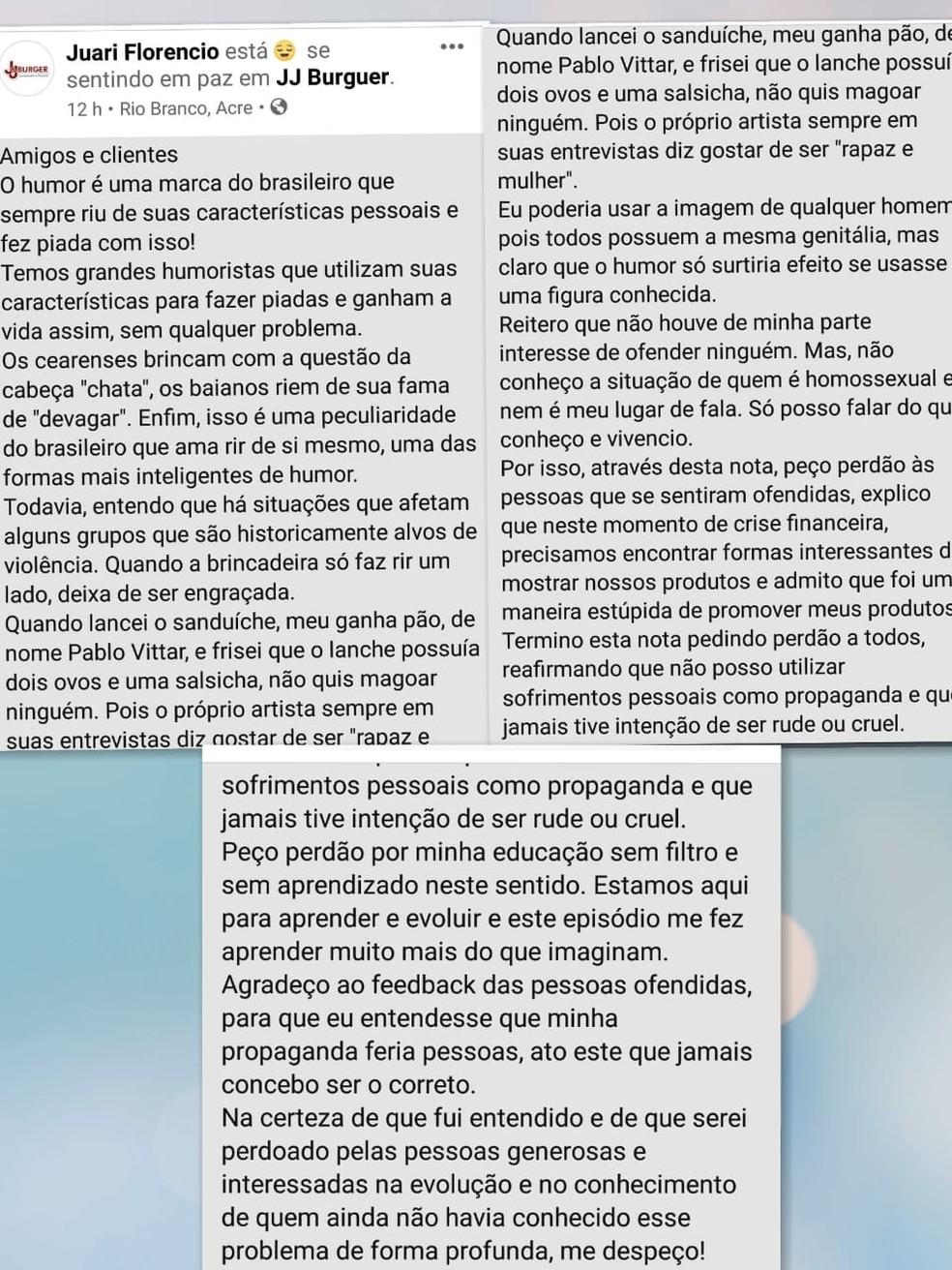 """Dono de lanchonete se desculpa após cardápio com """"X-Pablo Vitar"""" — Foto: Reprodução"""