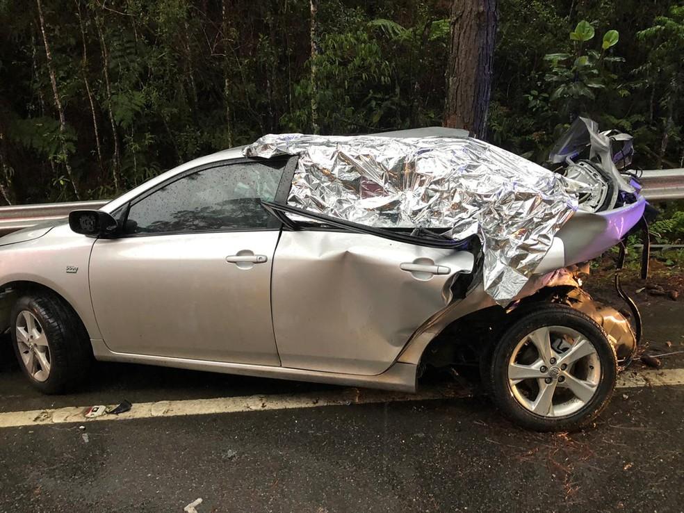 Acidente ocorreu na BR-282 — Foto: PRF/ Divulgação