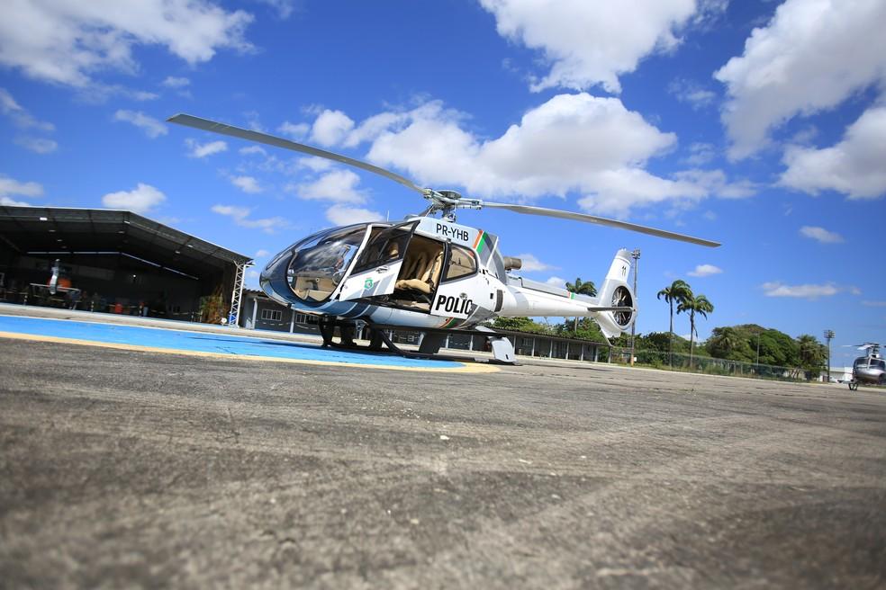 Aeronave apreendida passa a ser utilizada pelas forças de Segurança do Ceará. — Foto: Aline Freires/SSPDS