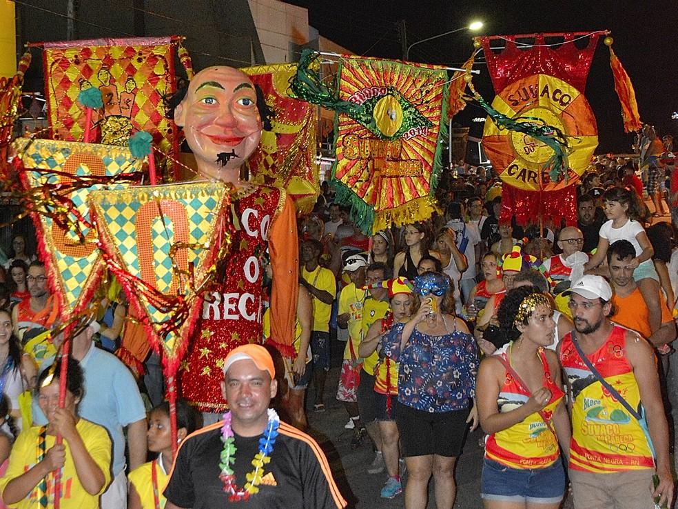 Ensaio do bloco Suvaco do Careca em 2017, em Ponta Negra — Foto: Divulgação
