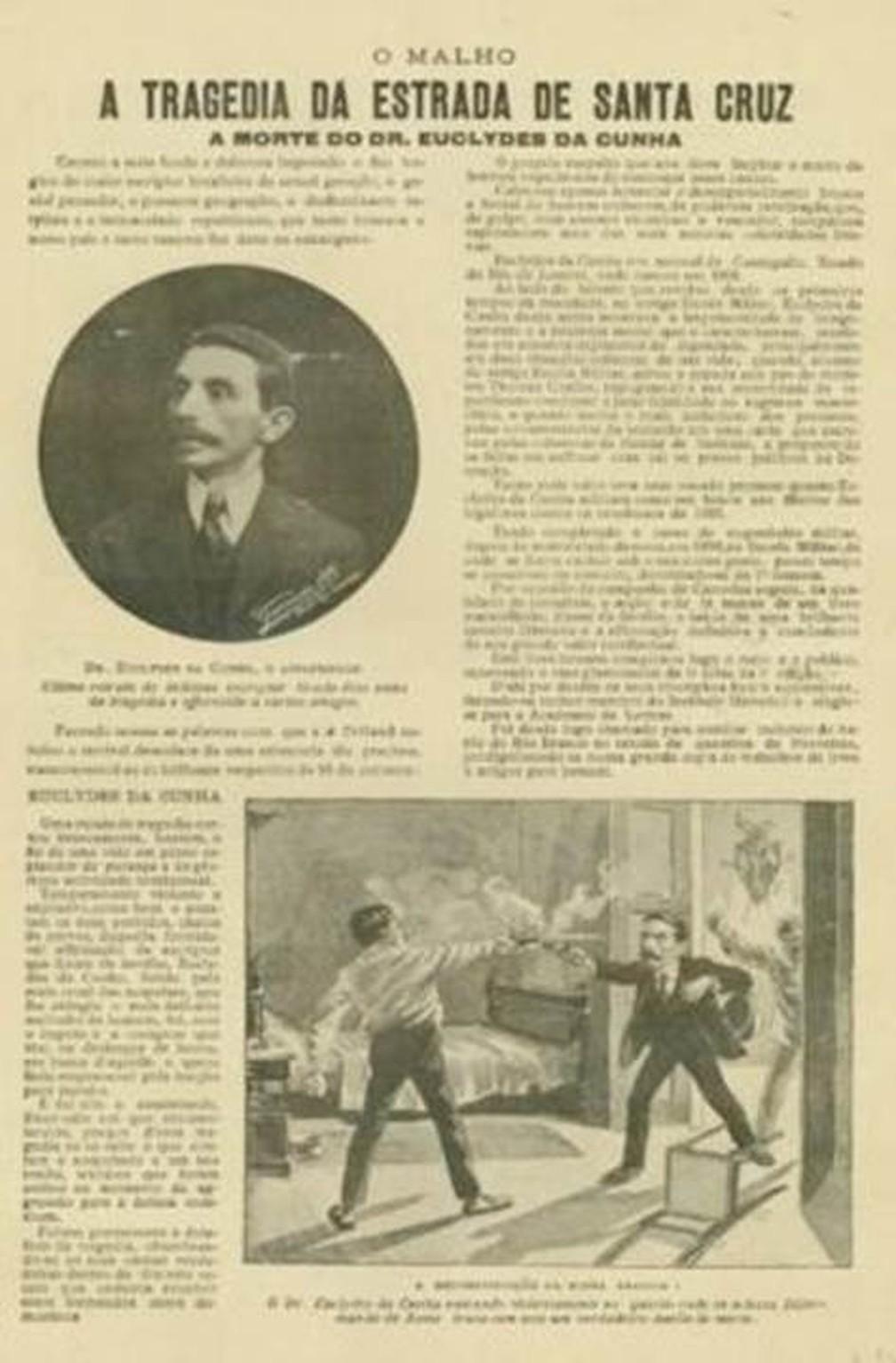 Revista 'O Malho' também destacou a morte de Euclides da Cunha — Foto: Fundação Biblioteca Nacional/BN Digital