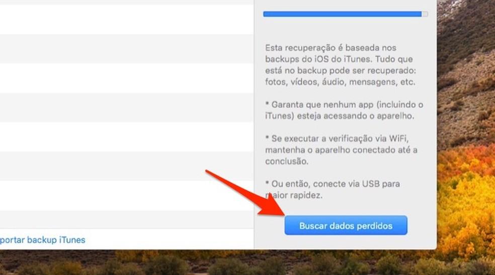 Ação para iniciar o procedimento para recuperar arquivos deletados no iPhone com por meio do software Data Recovery — Foto: Reprodução/Marvin Costa