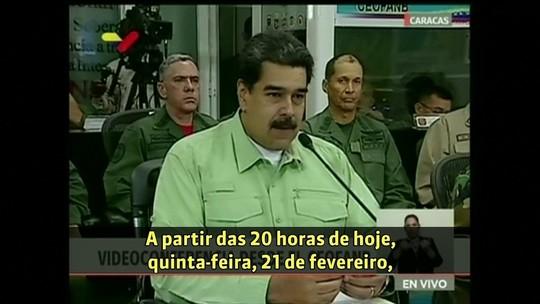 Vale mais prevenir do que lamentar, diz Maduro ao anunciar bloqueio