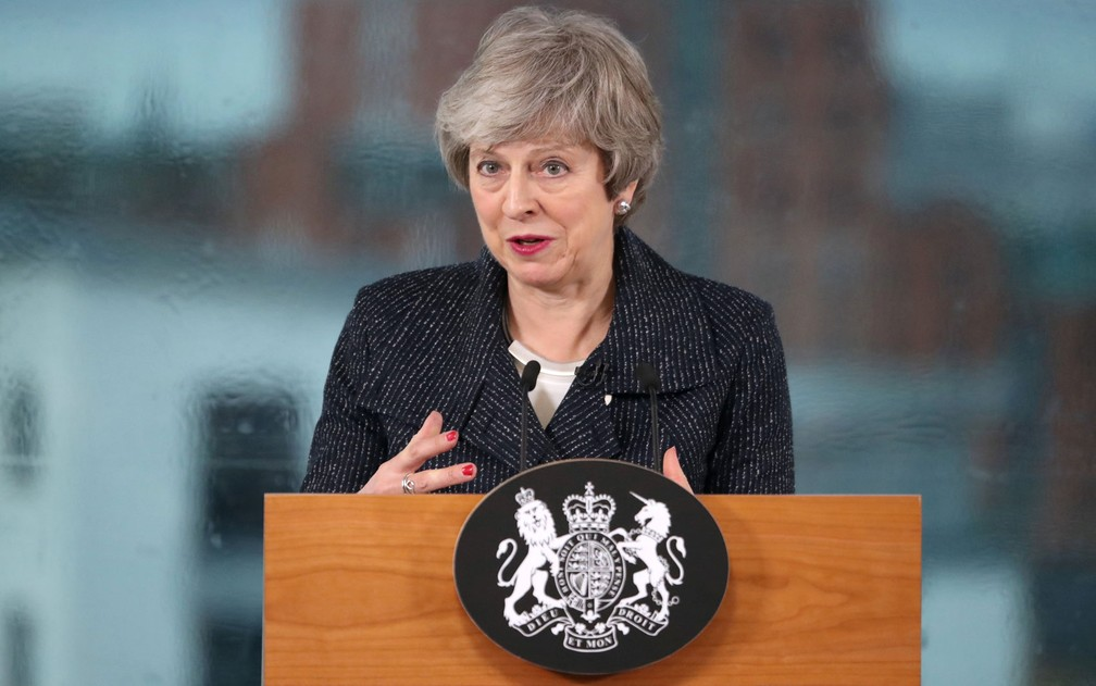 A primeira-ministra britânica, Theresa May — Foto: Liam McBurney/Pool via Reuters