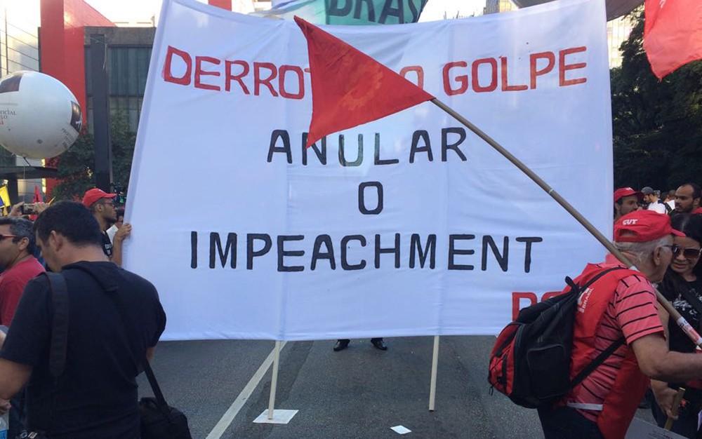 Ato contra a reforma na previdência e trabalhista reúne centenas de manifestantes na Avenida Paulista  (Foto: Paulo Toledo Piza/G1)
