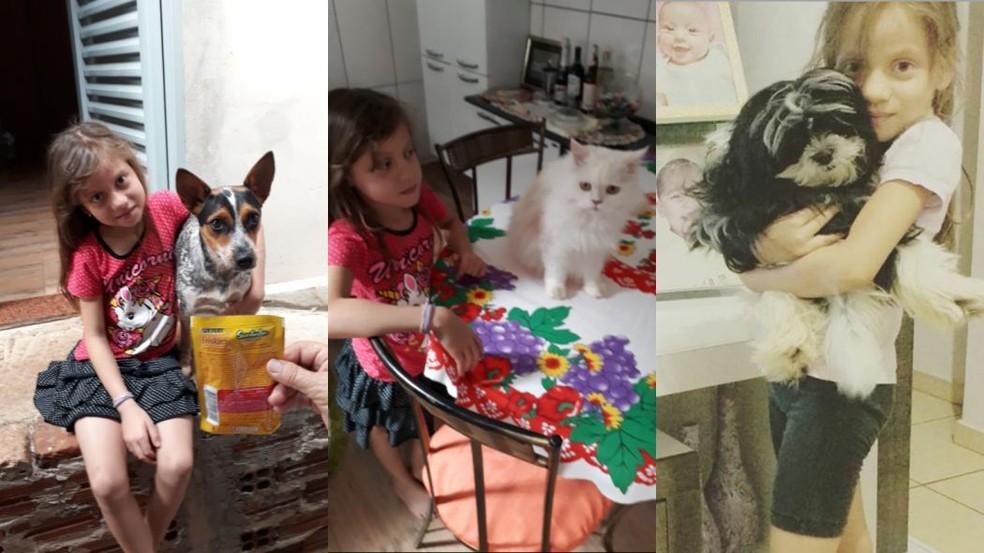 Ana Letícia com Fofinha, Bugu e Mili  — Foto: Arquivo Pessoal