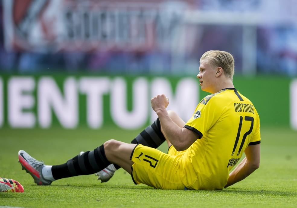 Haaland comemora o gol do Borussia em cima do RB Leipzig — Foto: Alexandre Simoes/Borussia Dortmund