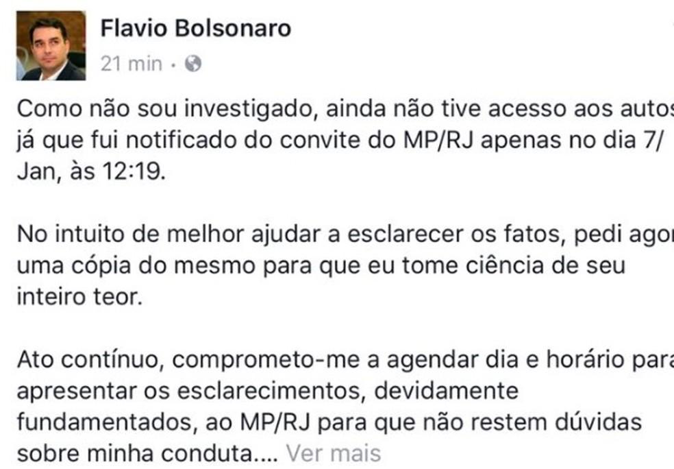 Nota de Fláviio Bolsonaro nas redes sociais nesta quinta — Foto: Reprodução/Redes Sociais