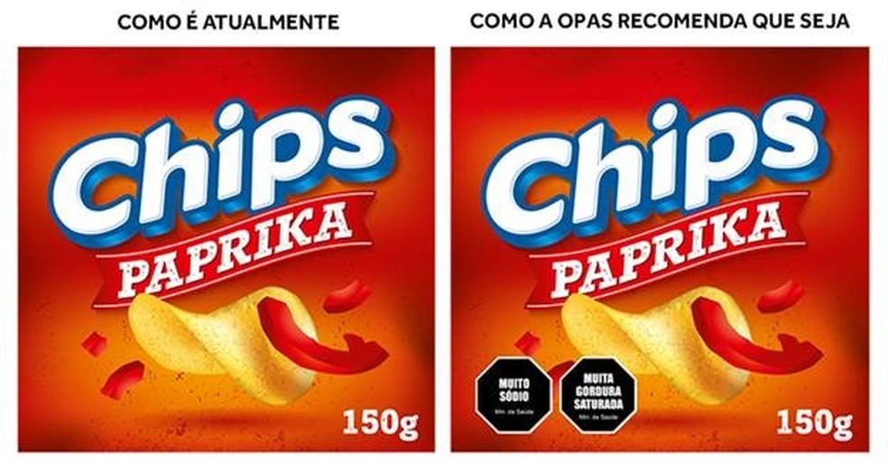 Exemplo fantasia de como a OPAS recomenda a rotulação no Brasil (Foto: OPAS/Divulgação)