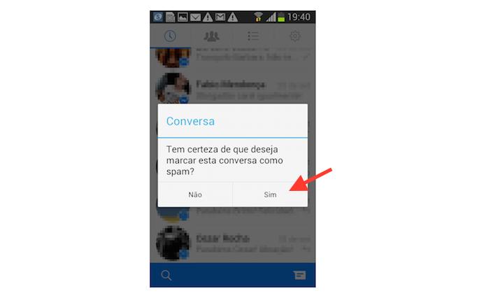 Confirmando a marcação de uma mensagem como spam no Facebook Messenger para Android (Foto: Reprodução/Marvin Costa)