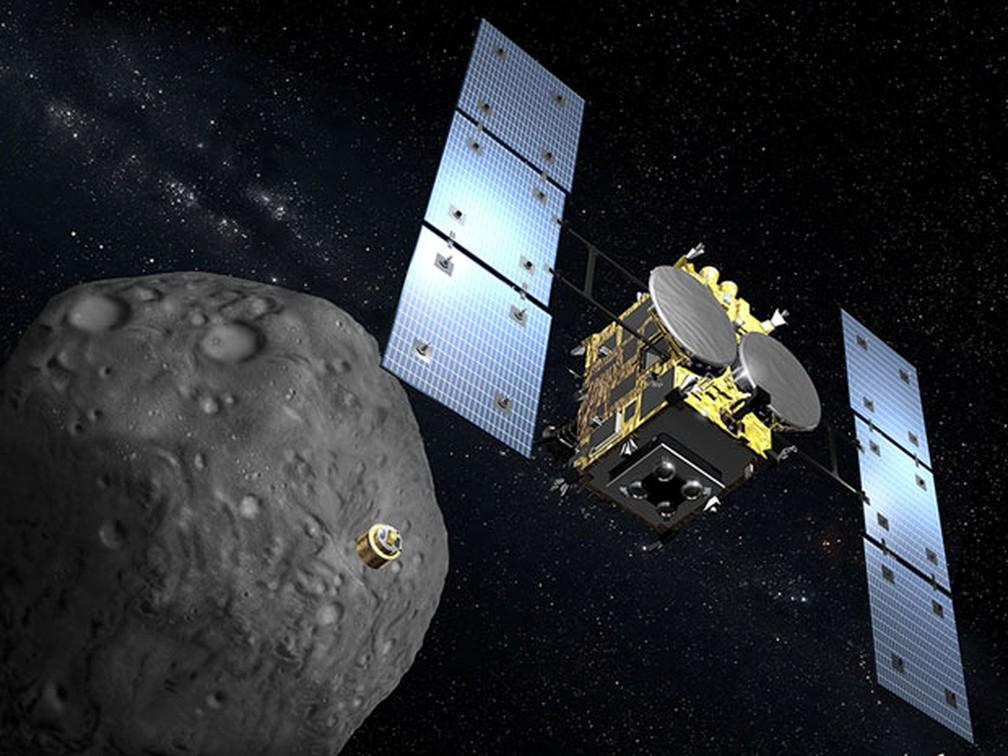 Ilustração gráfica da sonda espacial Hayabusa-2 (Foto: Akihiko Ikeshita / AFP Photo)