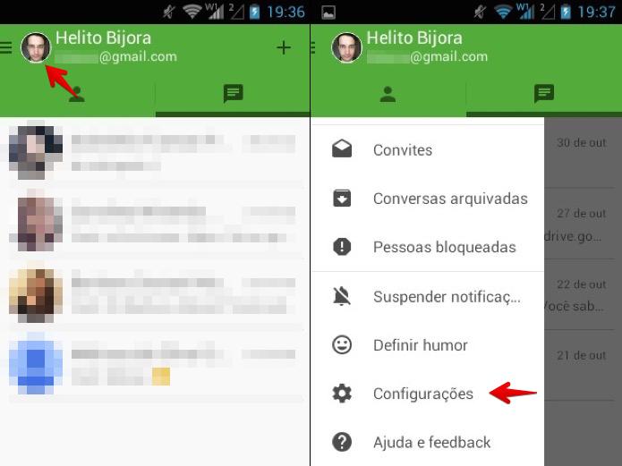 Acesse as configurações do Hangouts (Foto: Reprodução/Helito Bijora)