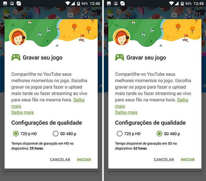 Android exibirá informações sobre qualidade da gravação e tempo disponível (Foto: Reprodução/Elson de Souza)