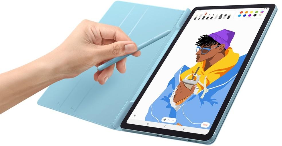 Galaxy Tab S6 Lite conta com caneta eletrônica S Pen — Foto: Divulgação/Samsung