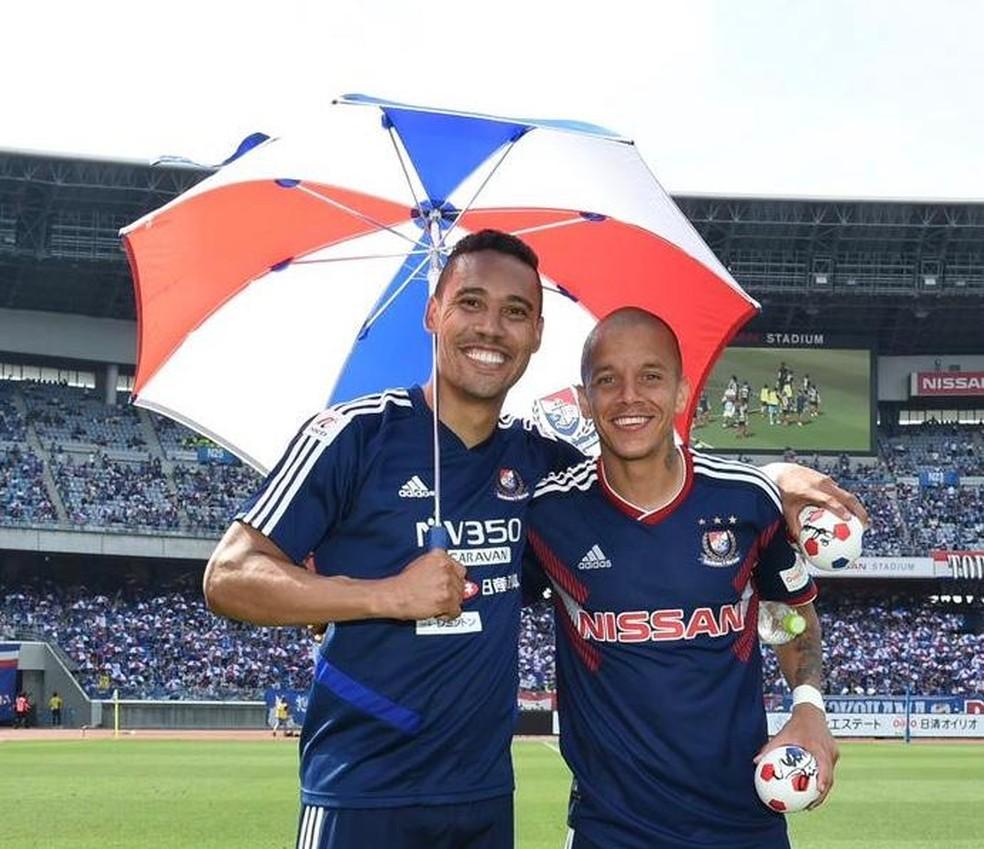 Marcos Junior e Edigar Junio: brasileiros do Yokohama Japão dividem artilharia — Foto: Reprodução
