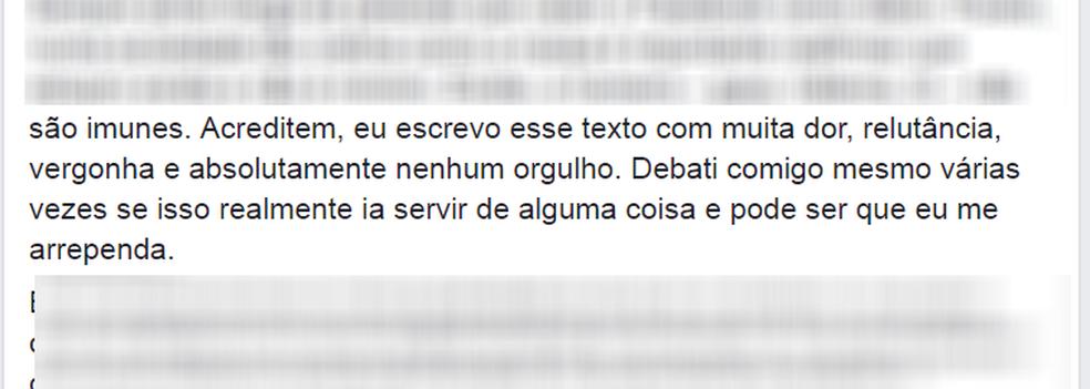 Em postagem publicada na internet neste domingo (20), jovem falou sobre o sentimento de vergonha diante da violência sofrida (Foto: Reprodução/Facebook/Mateus Henrique)