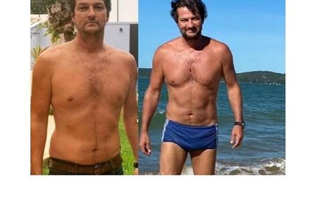 Marcelo Serrado perdeu seis quilos para seu personagem em 'Cara e coragem', com exercícios: 'Jogo tênis três vezes por semana' Reprodução