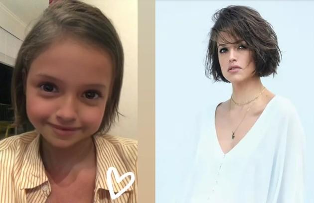 O ator também mostrou a transformação da namorada, Agatha Moreira (Foto: Reprodução e TV Globo)