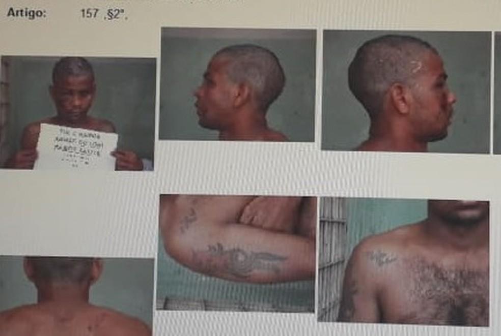 Túlio tem tatuagens específicas que podem ajudar a polícia a localizá-lo — Foto: Divulgação
