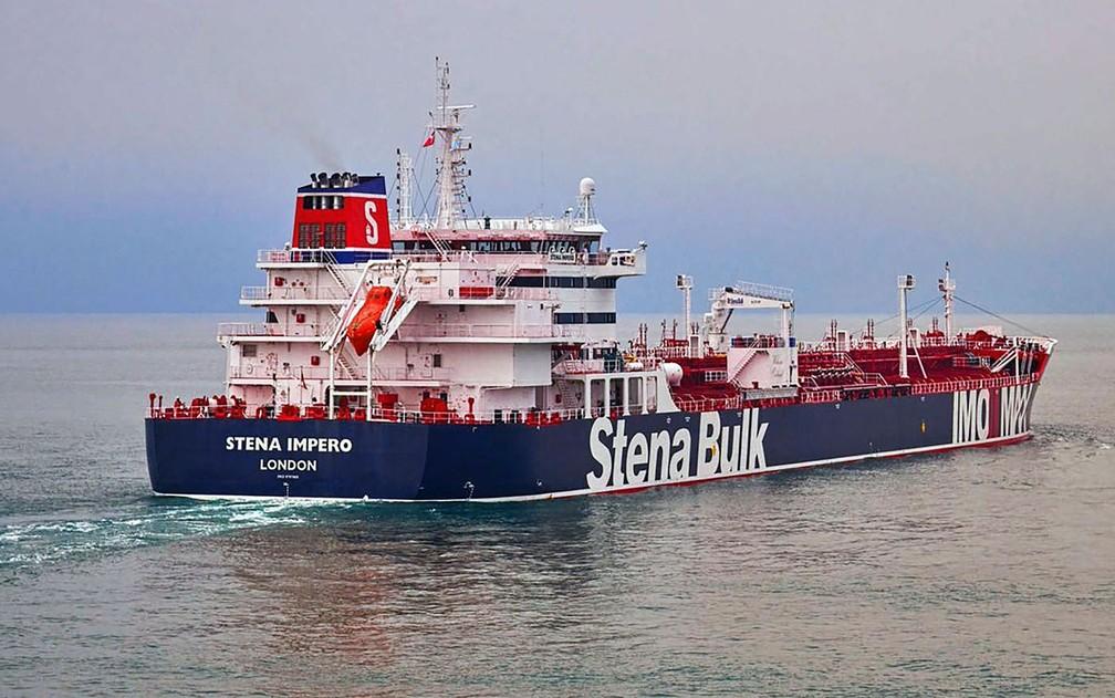 O petroleiro Stena Impero, capturado pela Guarda Revolucionária do Irã, em foto não datada — Foto: Stena Bulk via AP