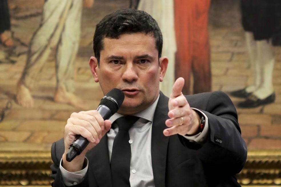 O ministro da Justiça e Segurança Pública, Sergio Moro, durante apresentação do projeto anticrime, na Câmara dos Deputados, em fevereiro deste ano  — Foto: Wilson Dias/Agência Brasil