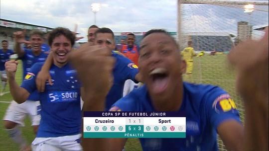 Os gols de Cruzeiro 1 (5) x (3) 1 Sport pela Copa SP de futebol júnior