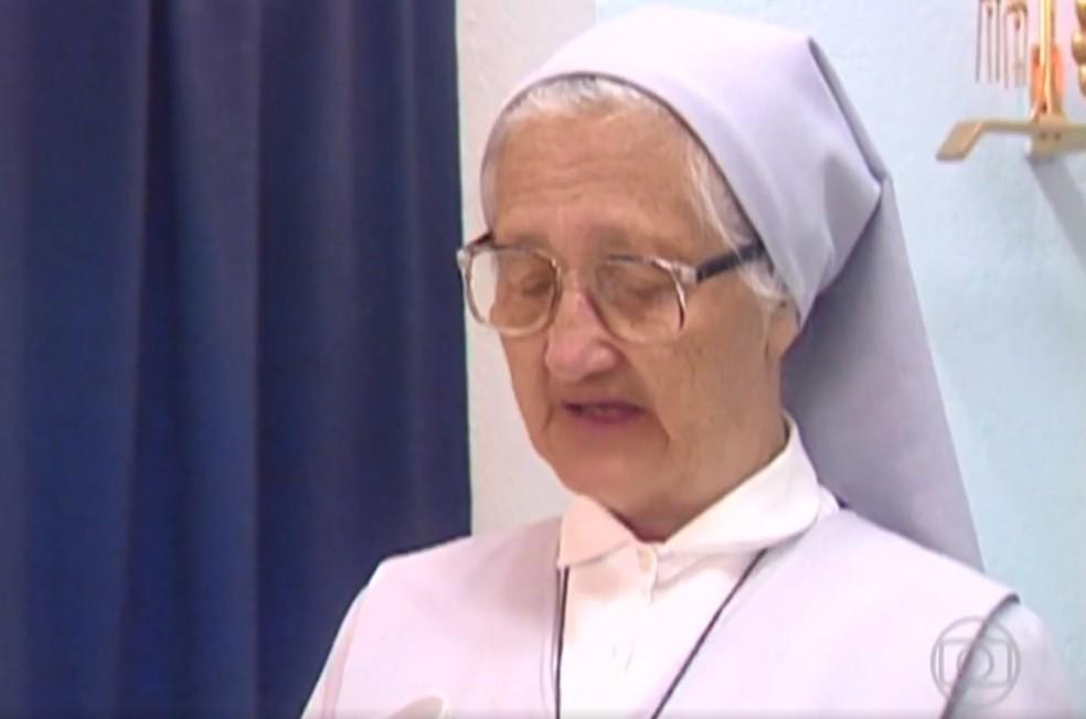 Irmã Adélia morreu aos 91 anos, em 13 de outubro de 2013 — Foto: Reprodução/TV Globo