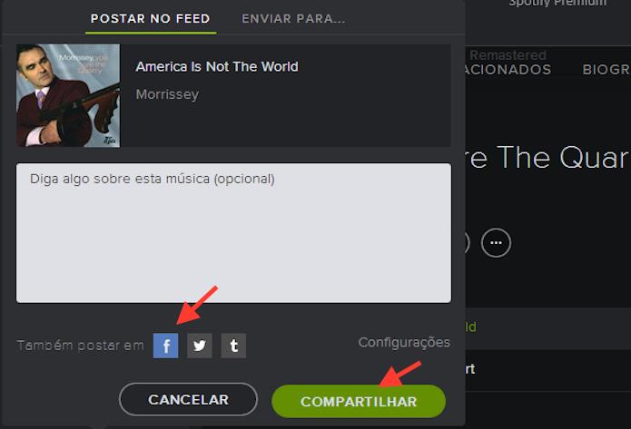 Compartilhando uma música reproduzida no Spotify com o Facebook (Foto: Reprodução/Marvin Costa)