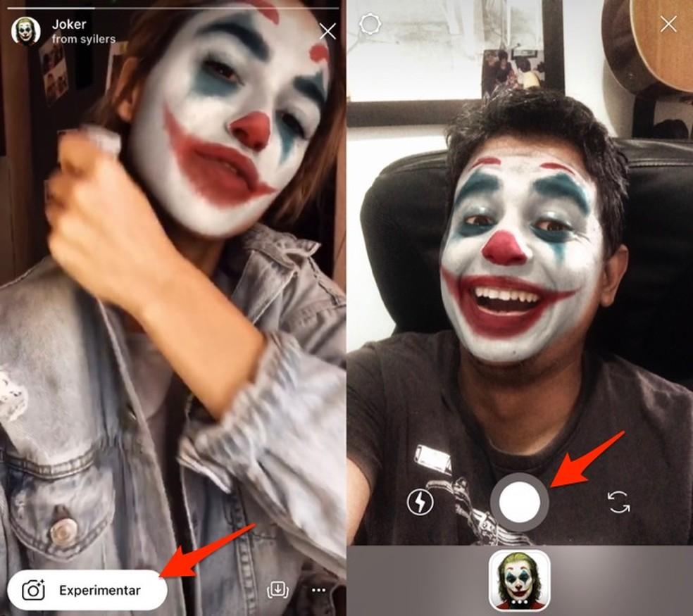 Ação para abrir o filtro Joker no Instagram Stories — Foto: Reprodução/Marvin Costa