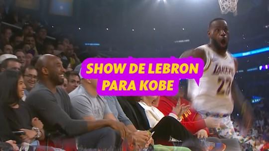 Sob o olhar de Kobe Bryant, Lebron James dá show em vitória dos Lakers sobre Hawks