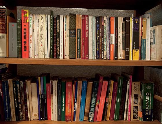 lA estante de livros de Geovani em sua casa no Vidigal (Foto: Adriana Lorete)