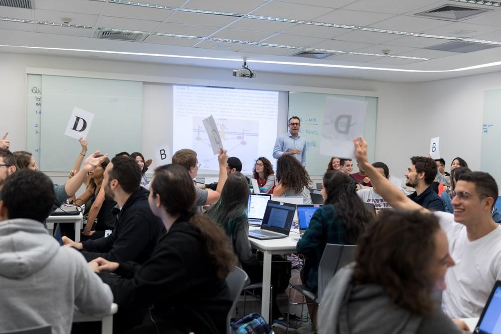 Aula em TBL na Faculdade de Medicina do Einstein, em São Paulo  (Foto: Marcelo Brandt/ G1)