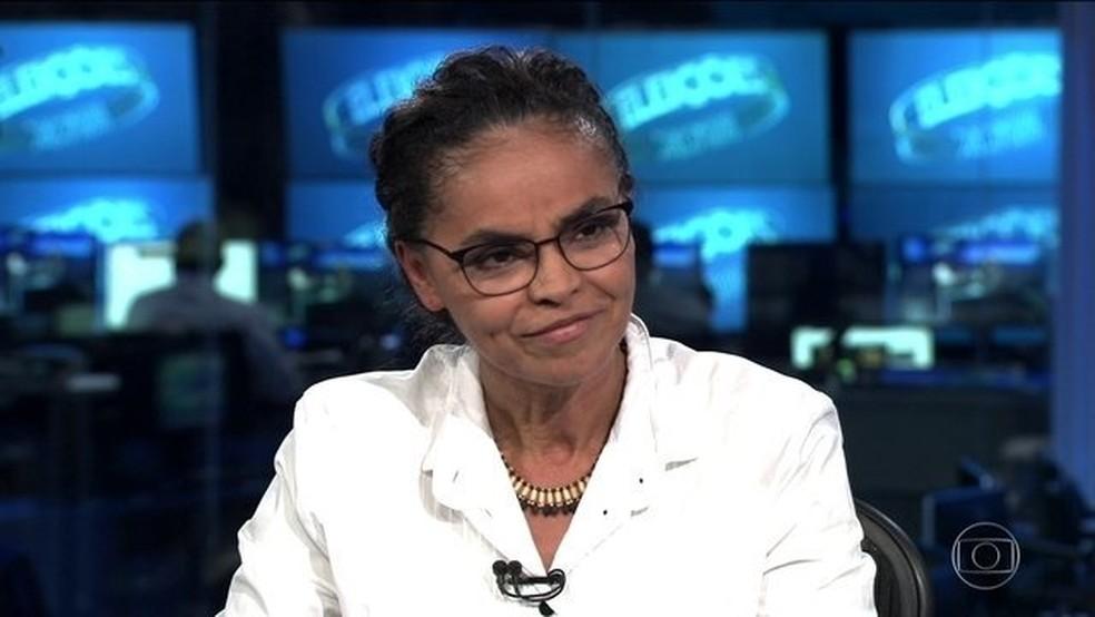 Marina Silva (Rede) é entrevistada no Jornal Nacional (Foto: Reprodução/JN)